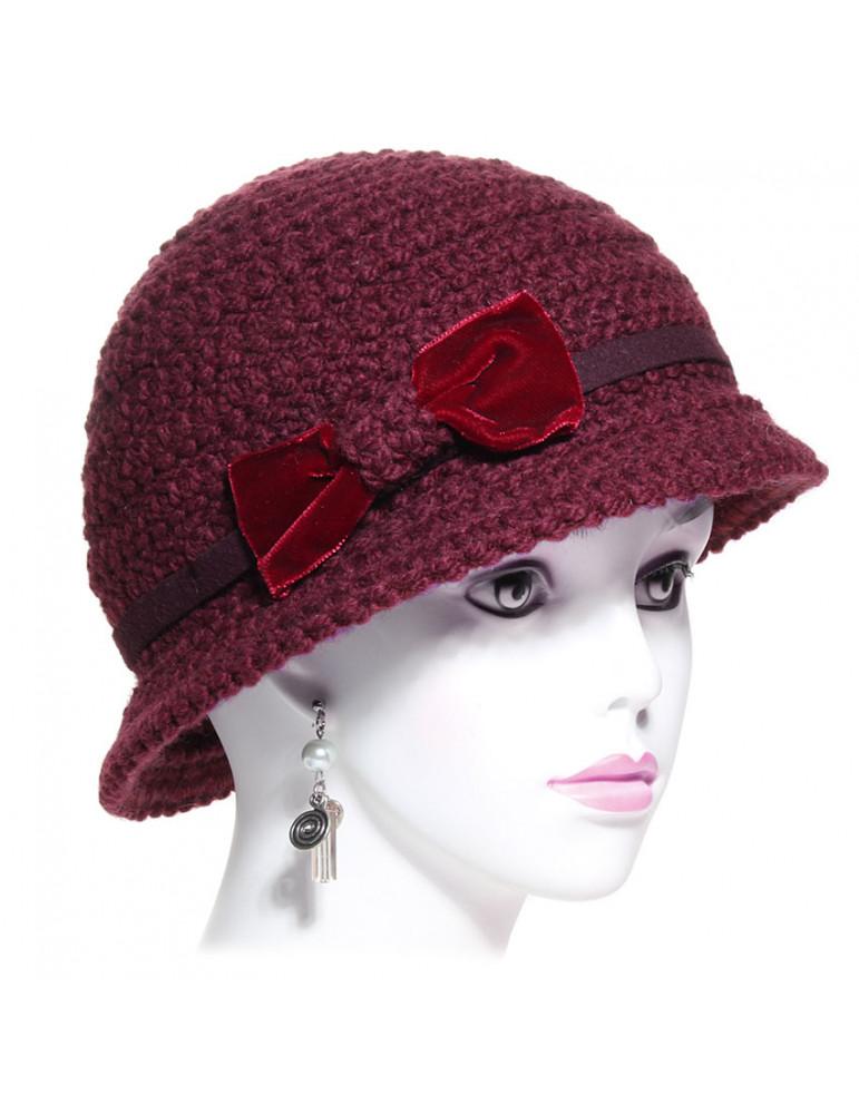 chapeau femme en laine coloris prune
