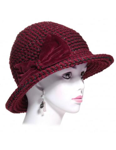 chapeau laine bordeaux et fils noir argenté