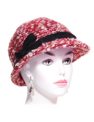 chapeau cloche en laine bouclée rouge multicolore