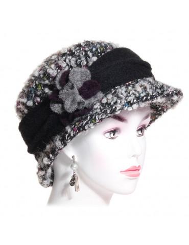chapeau laine bouclée noir