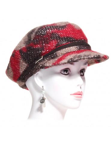 Casquette style marin laine imprimée rouge et marron