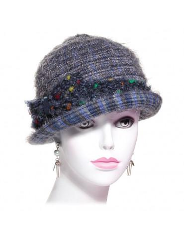 chapeau laine et mohair gris bleuté