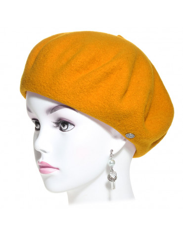 Béret laine vierge mérinos coloris jaune safran