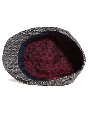 casquette en laine grise à six pans doublée polyester