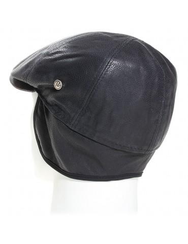 Casquette en cuir de veau coloris noir et cache oreille