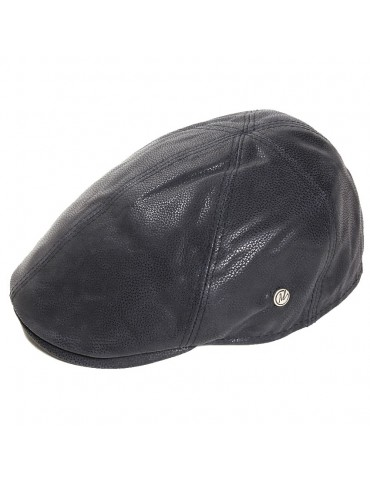 casquette en cuir noir marque M by Fléchet
