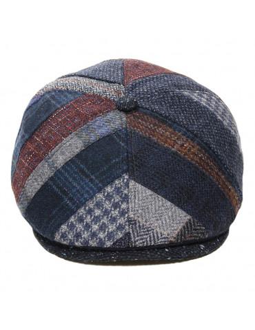 Casquette laine vierge patchwork bleu M by Fléchet