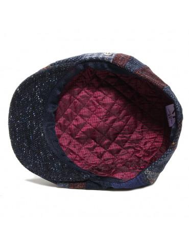 Casquette laine vierge patchwork bleu M by Fléchet doublée polyester