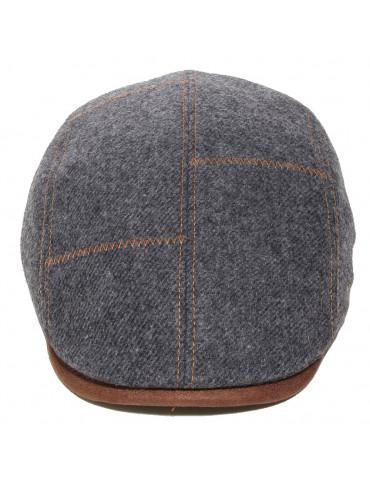 Casquette laine vierge surpiquée coloris gris