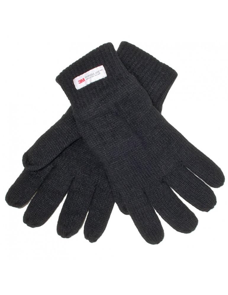 Gant acrylique noir doublé polaire thinsulate