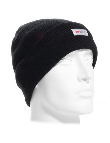 Bonnet acrylique noir maille fine doublé polaire Thinsulate 40gr