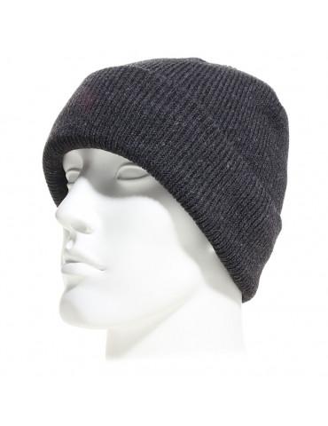 Bonnet à revers en maille fine doublé polaire couleur gris anthracite