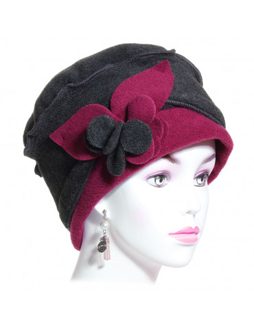Chapeau polaire femme coloris anthracite et fushia