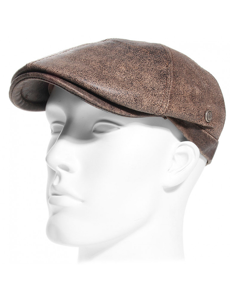 casquette cuir vieilli coloris marron