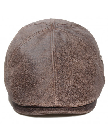 casquette plate cuir marron