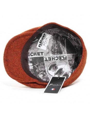 Casquette plate laine Harris tweed doublée polyester imprimé Fléchet