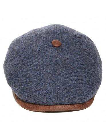 casquette laine vierge avec visière gansée et bouton assorti