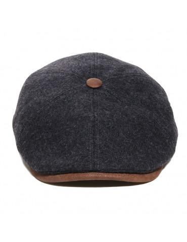 casquette laine avec visière gansée et bouton assorti
