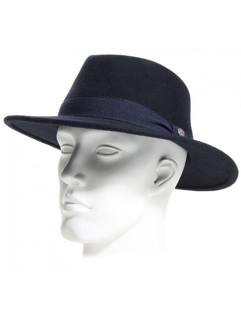 Chapeau feutre bleu bord moyen