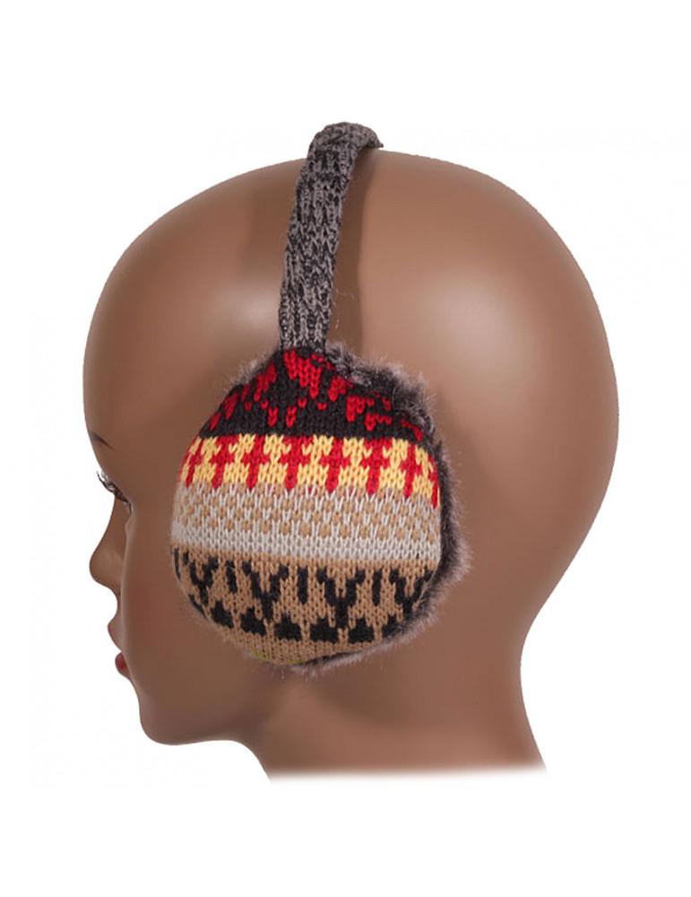 Cache oreilles tricot jacquard beige