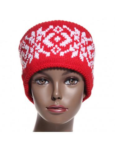 bandeau de ski en laine jacquard rouge