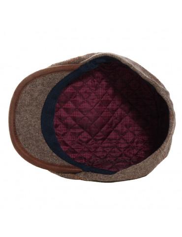 casquette en laine vierge surpiquée coloris taupe