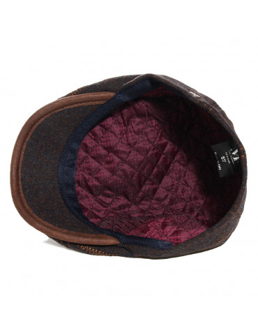 casquette laine vierge coloris kaki doublée polyester