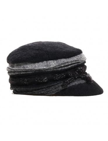 casquette laine noir et grise