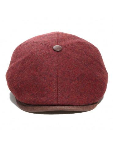 casquette 6 pans en laine vierge bordeaux avec bouton