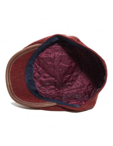 casquette 6 pans en laine vierge bordeaux doublée polyester
