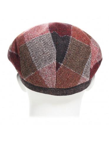 casquette plate laine vierge à carreaux