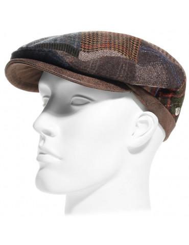 casquette patchwork laine vierge et imitation cuir