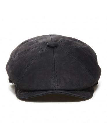 Casquette Hatteras cuir noir nappa wax