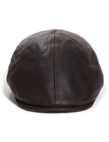 casquette cuir nappa martelé marron