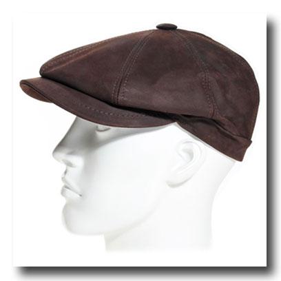casquette cuir marron